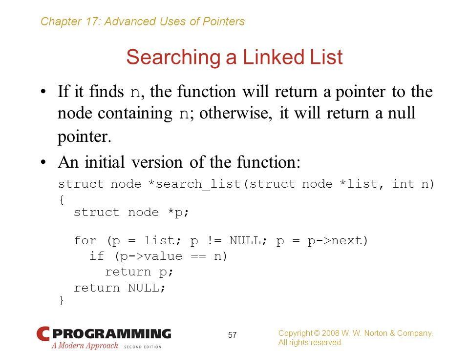 Searching a Linked List