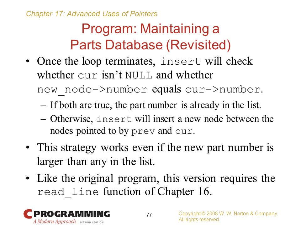 Program: Maintaining a Parts Database (Revisited)