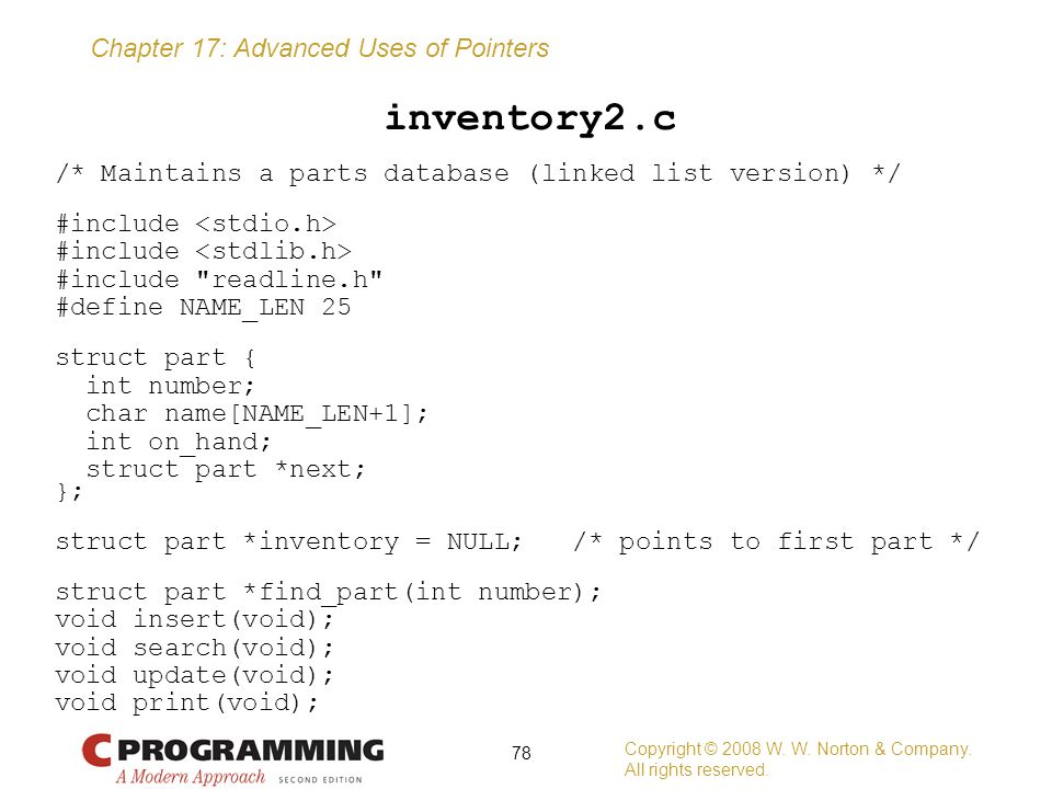 inventory2.c /* Maintains a parts database (linked list version) */