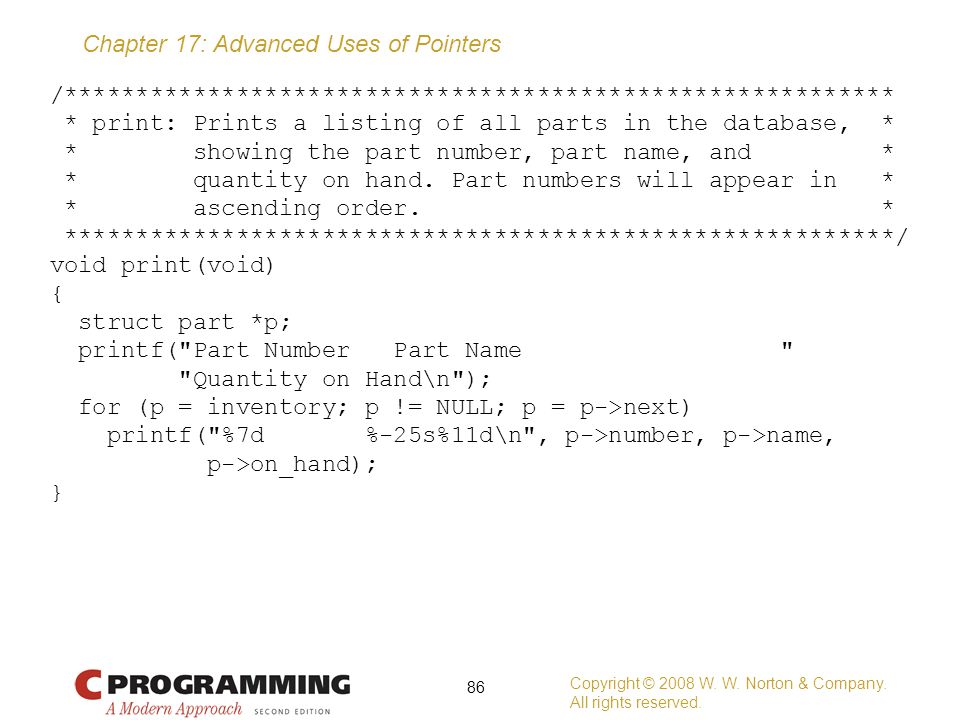 /. print: Prints a listing of all parts in the database,