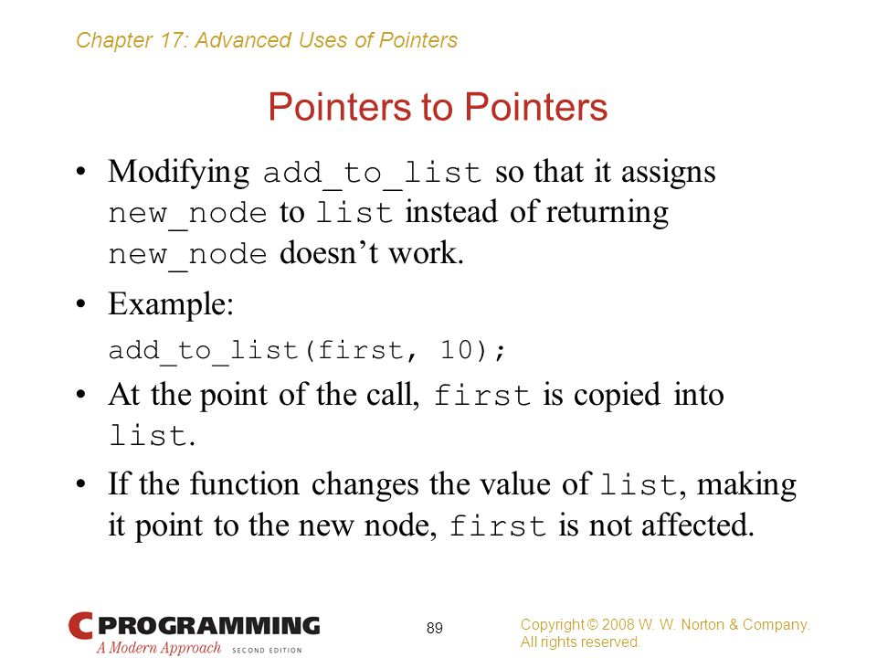 Pointers to Pointers Modifying add_to_list so that it assigns new_node to list instead of returning new_node doesn't work.