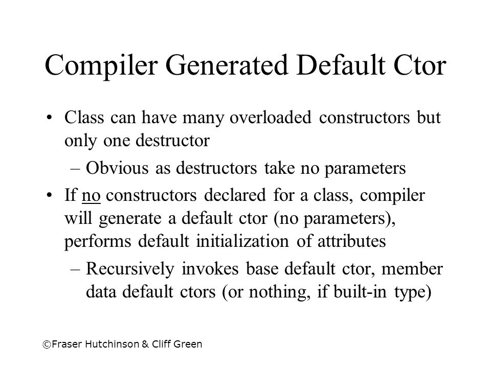 Compiler Generated Default Ctor