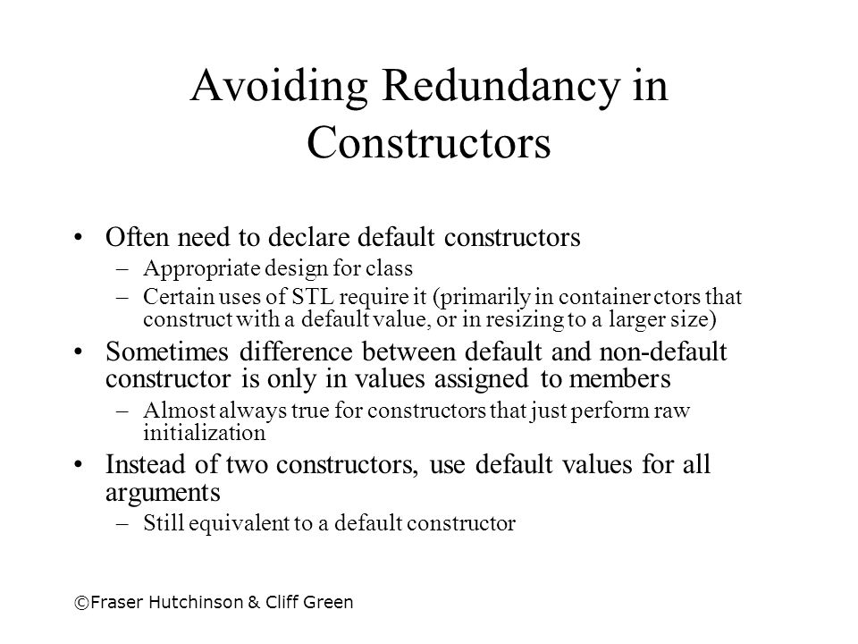 Avoiding Redundancy in Constructors