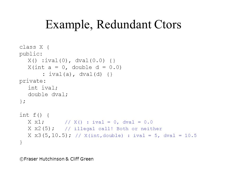 Example, Redundant Ctors