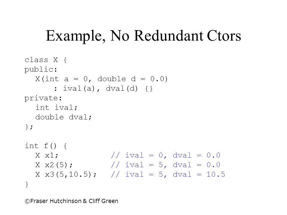 Example, No Redundant Ctors