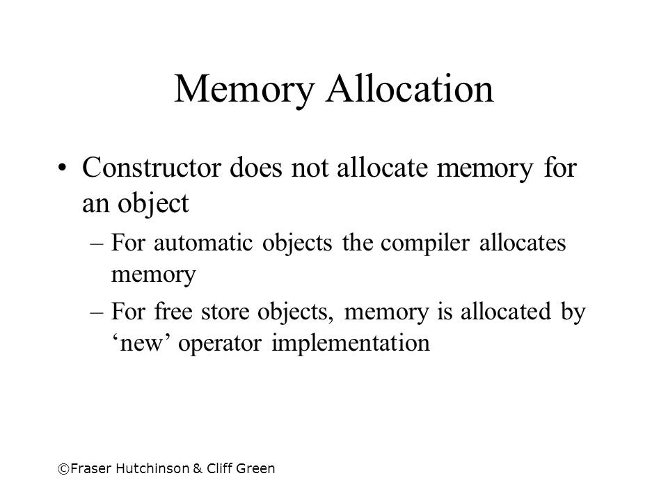 Memory Allocation Constructor does not allocate memory for an object