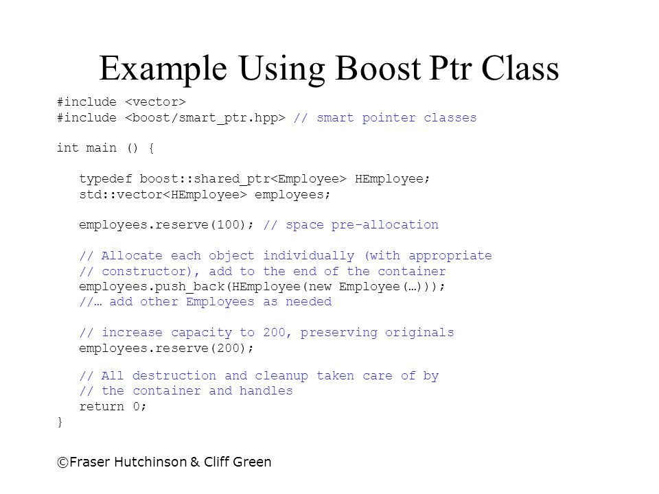 Example Using Boost Ptr Class