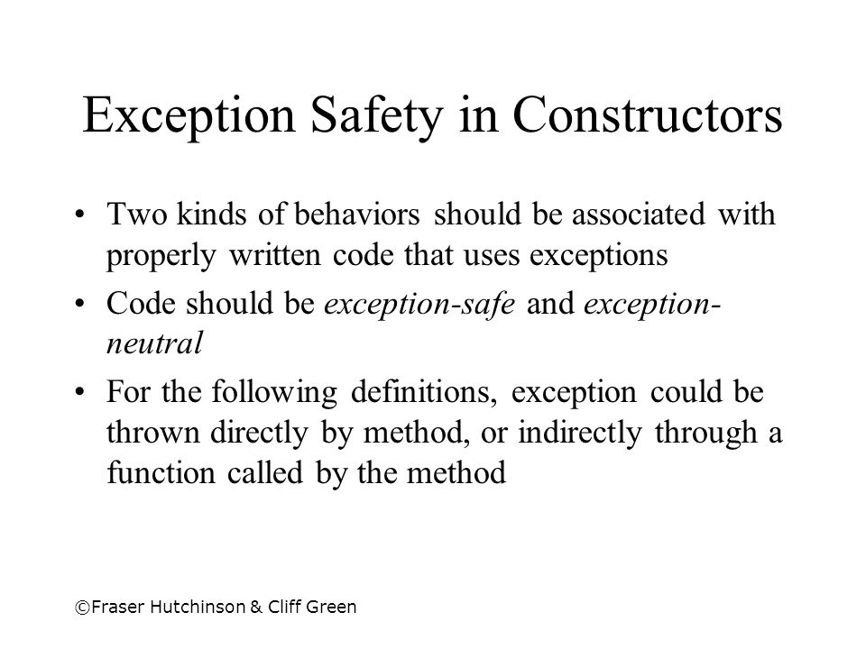 Exception Safety in Constructors
