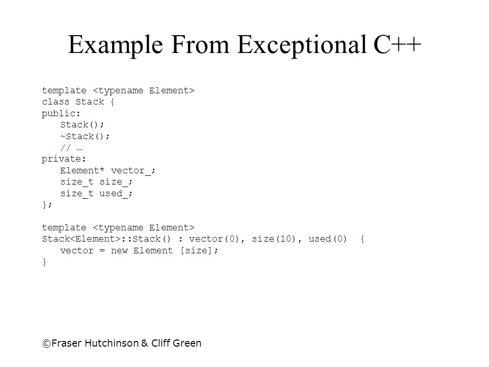 Example From Exceptional C++