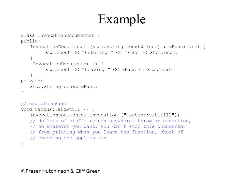 Example class InvocationDocumenter { public: