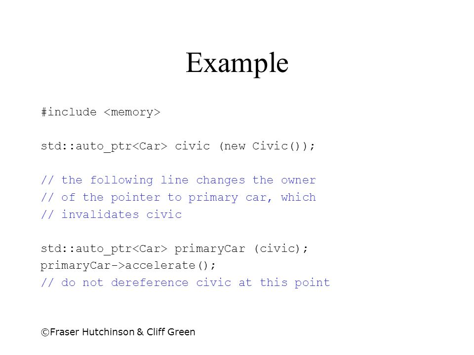 Example #include <memory>