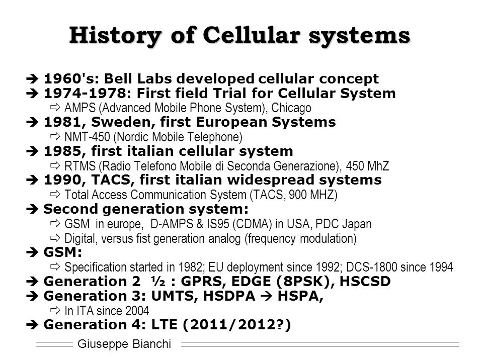 History of Cellular systems
