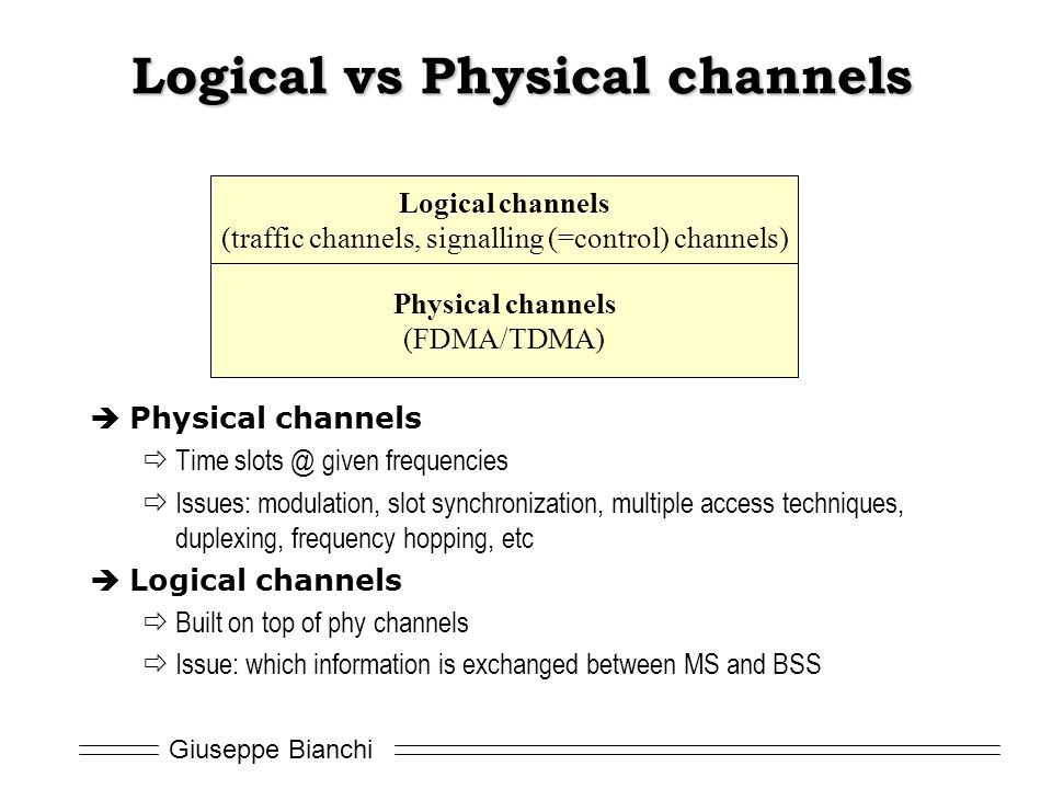 Logical vs Physical channels