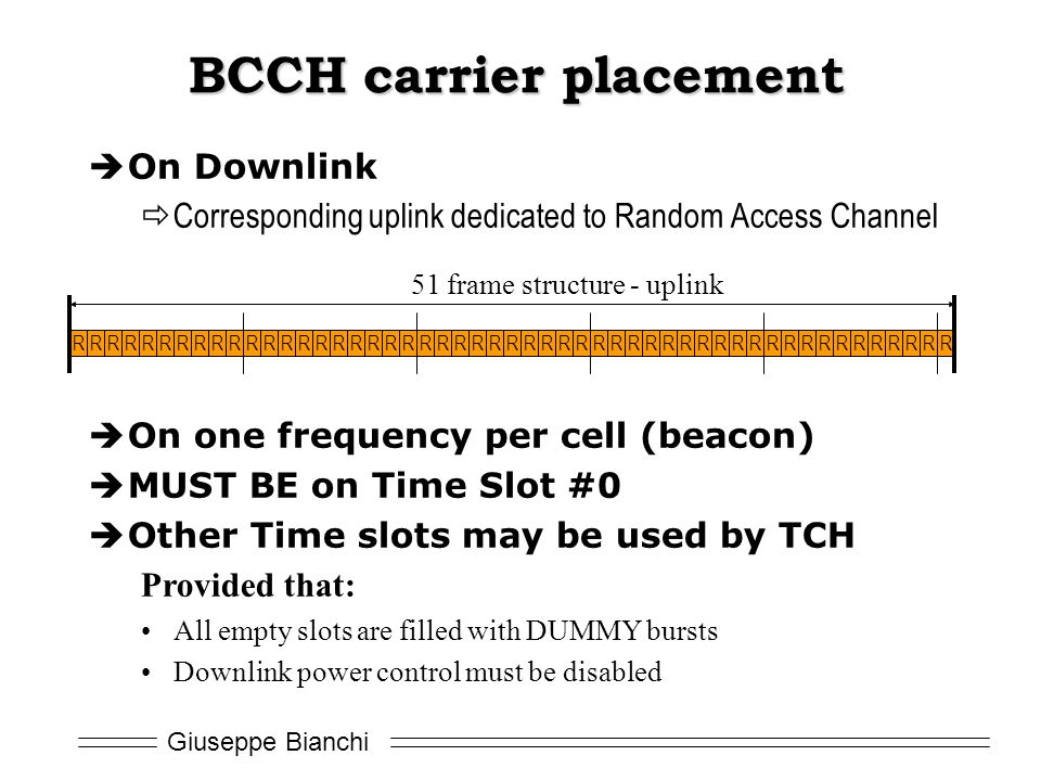 BCCH carrier placement