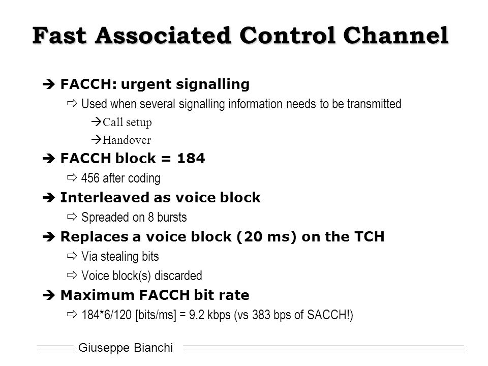 Fast Associated Control Channel