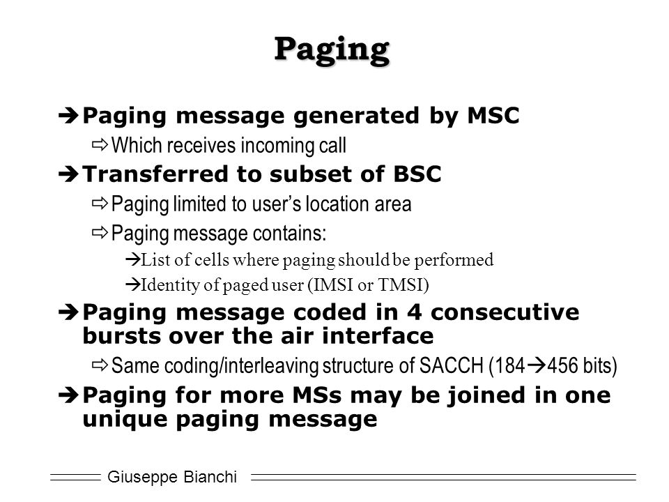 Paging Paging message generated by MSC Which receives incoming call