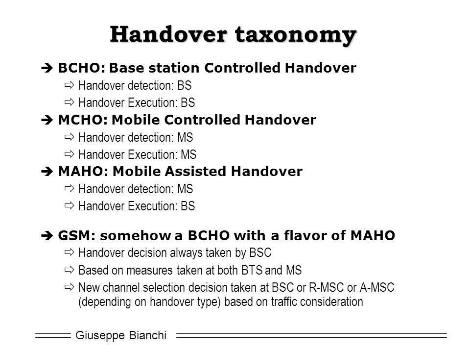 Handover taxonomy BCHO: Base station Controlled Handover