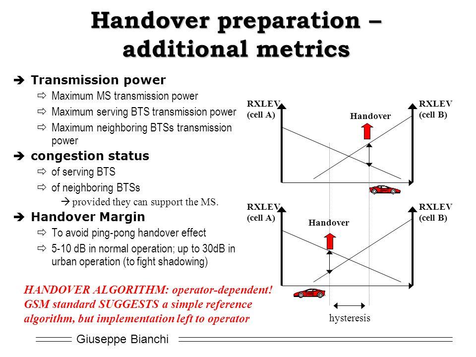 Handover preparation – additional metrics