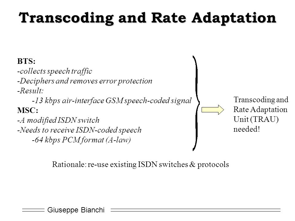 Transcoding and Rate Adaptation