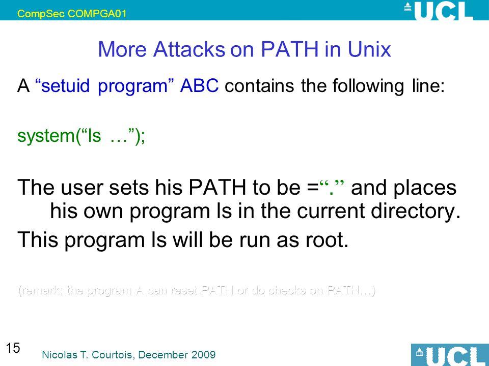 More Attacks on PATH in Unix
