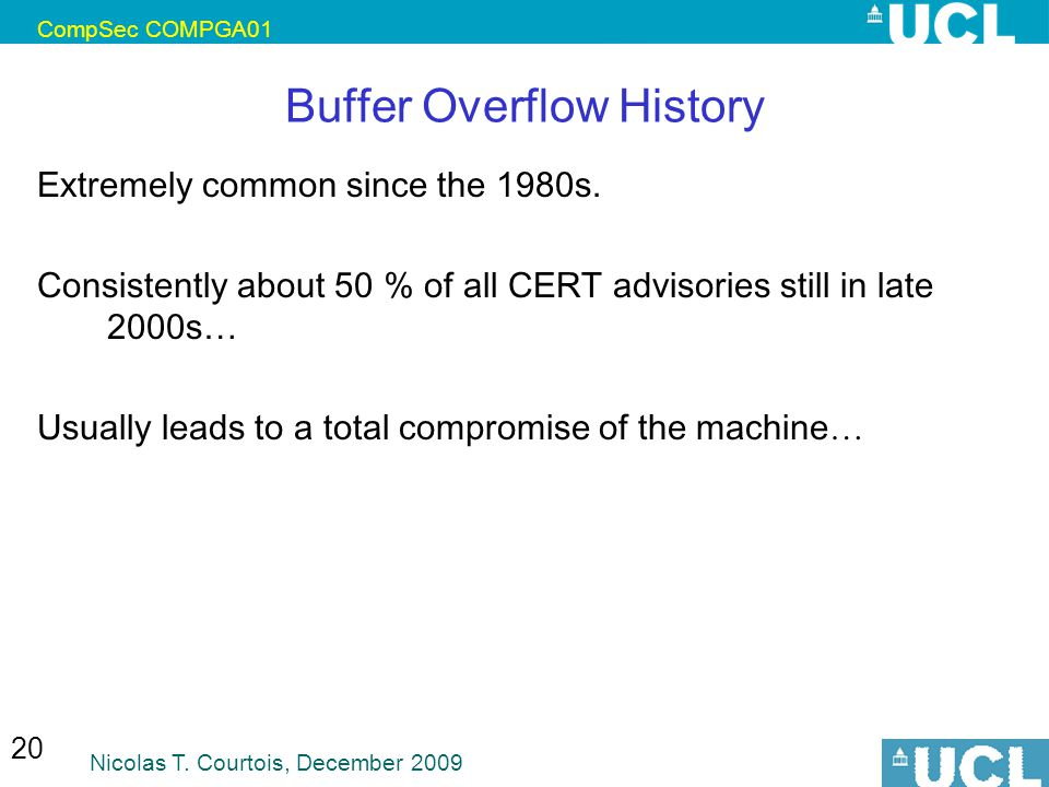 Buffer Overflow History