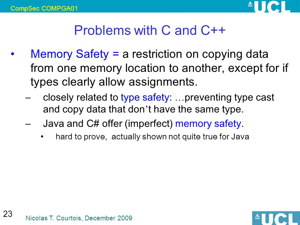 CompSec COMPGA01 Problems with C and C++