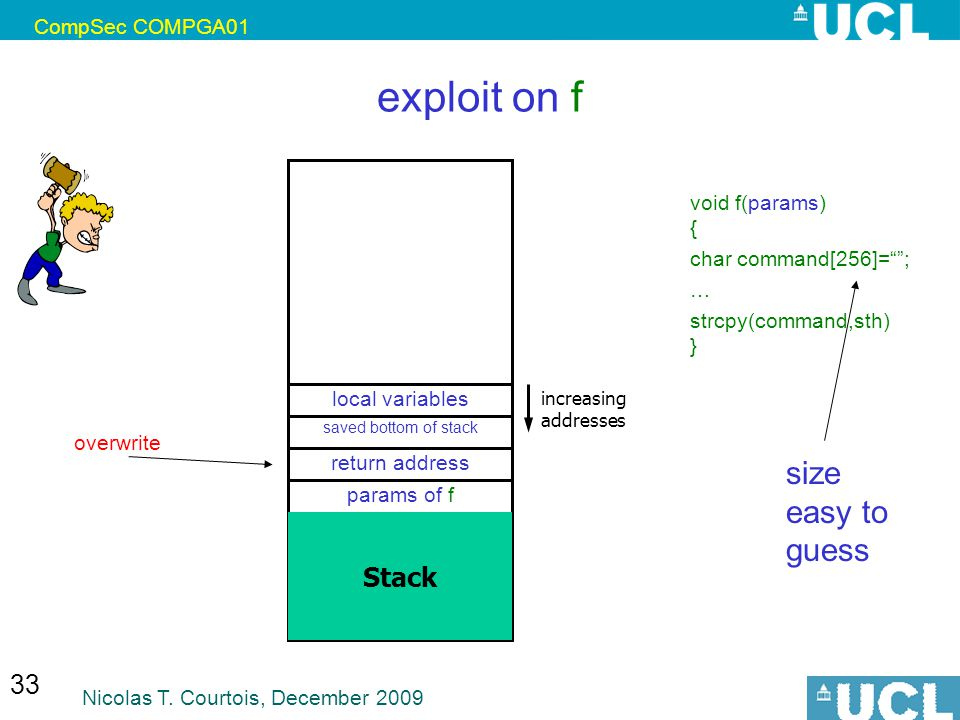 exploit on f size easy to guess Stack CompSec COMPGA01
