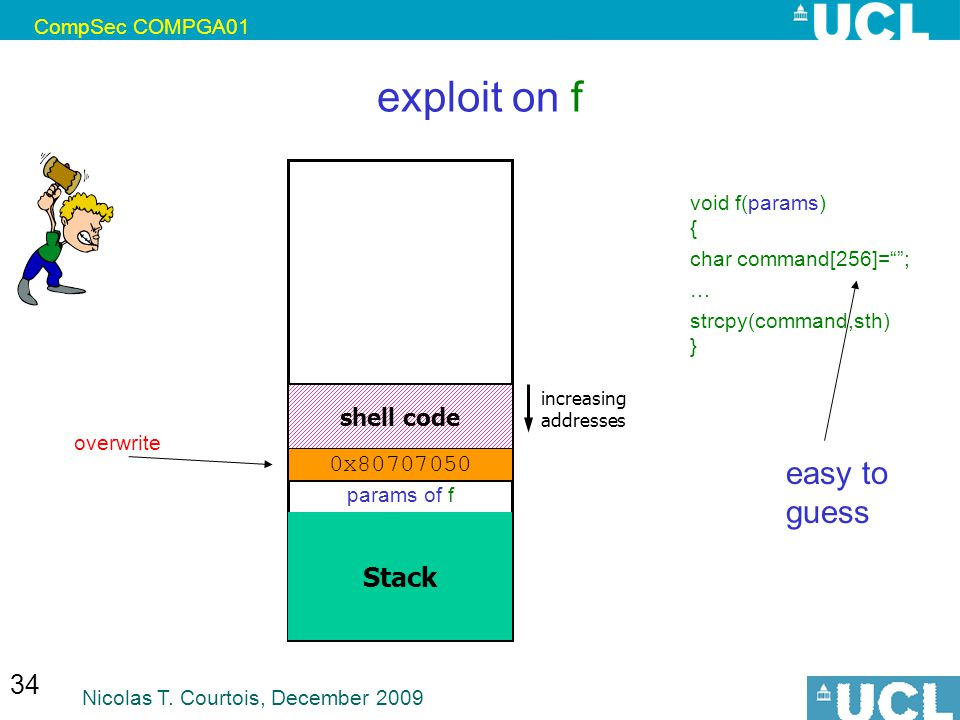 exploit on f easy to guess Stack shell code 0x80707050
