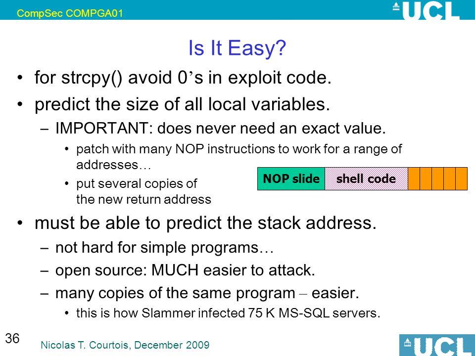Is It Easy for strcpy() avoid 0's in exploit code.