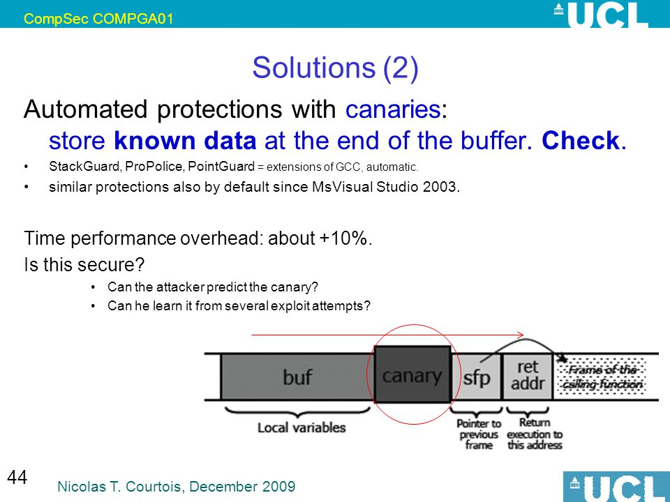 CompSec COMPGA01 Solutions (2) Automated protections with canaries: store known data at the end of the buffer. Check.
