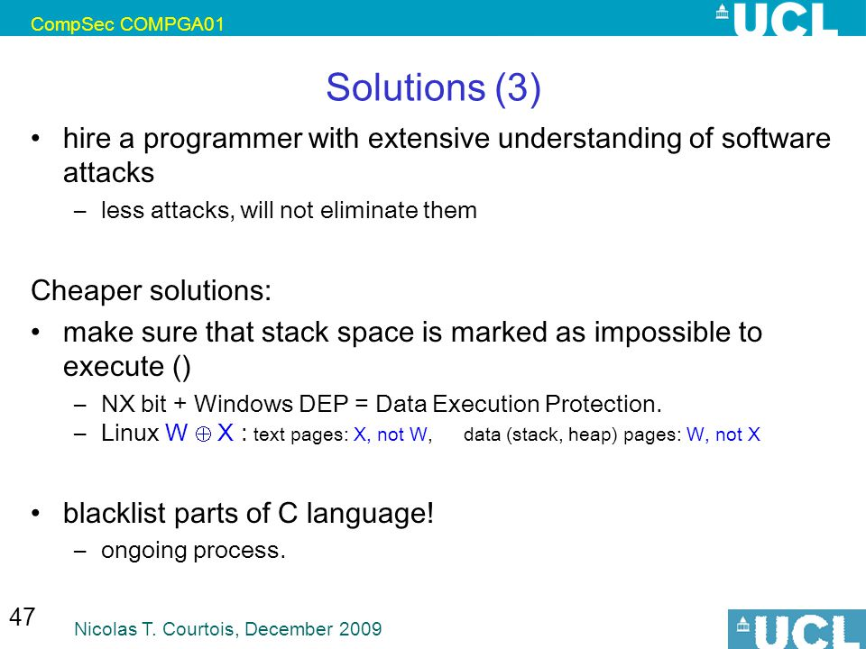 CompSec COMPGA01 Solutions (3) hire a programmer with extensive understanding of software attacks.