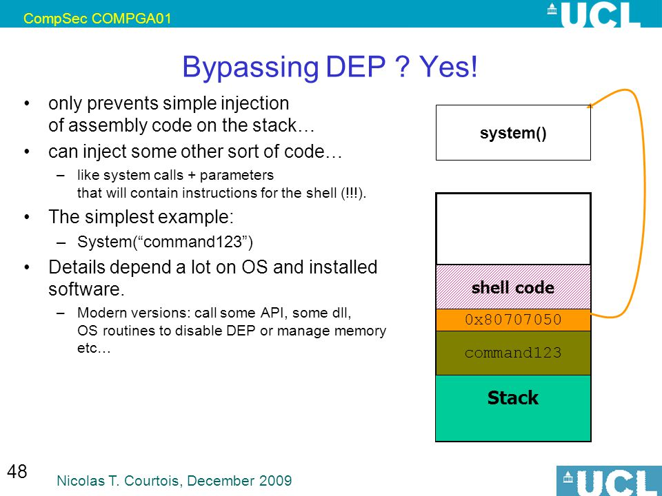 CompSec COMPGA01 Bypassing DEP Yes! only prevents simple injection of assembly code on the stack…