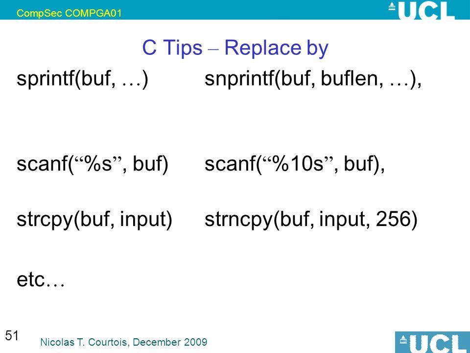 sprintf(buf, …) snprintf(buf, buflen, …),