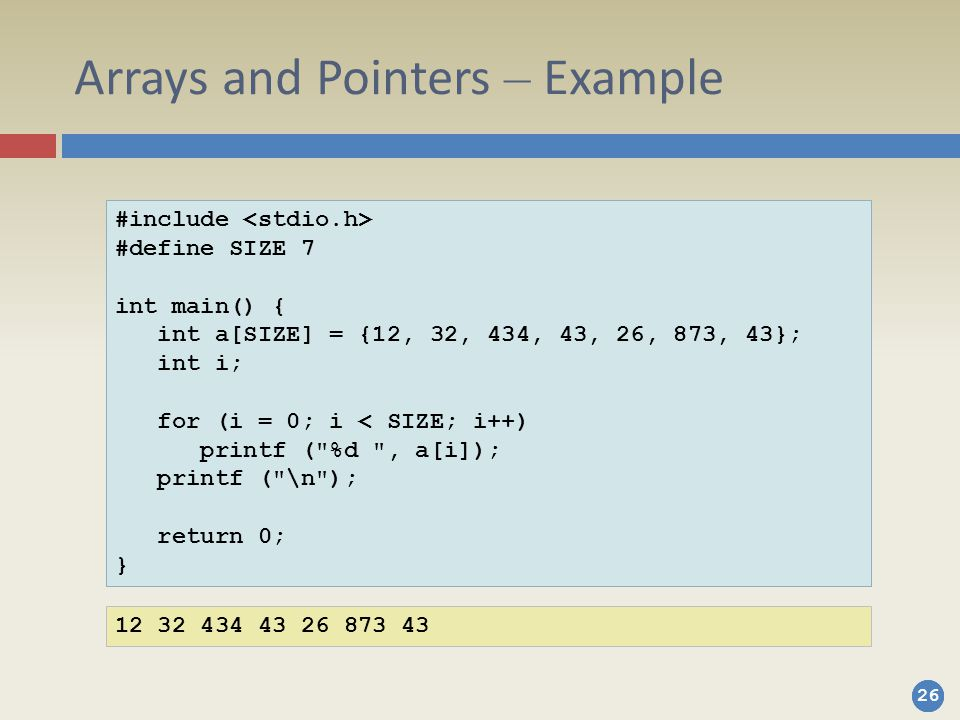 Arrays and Pointers – Example