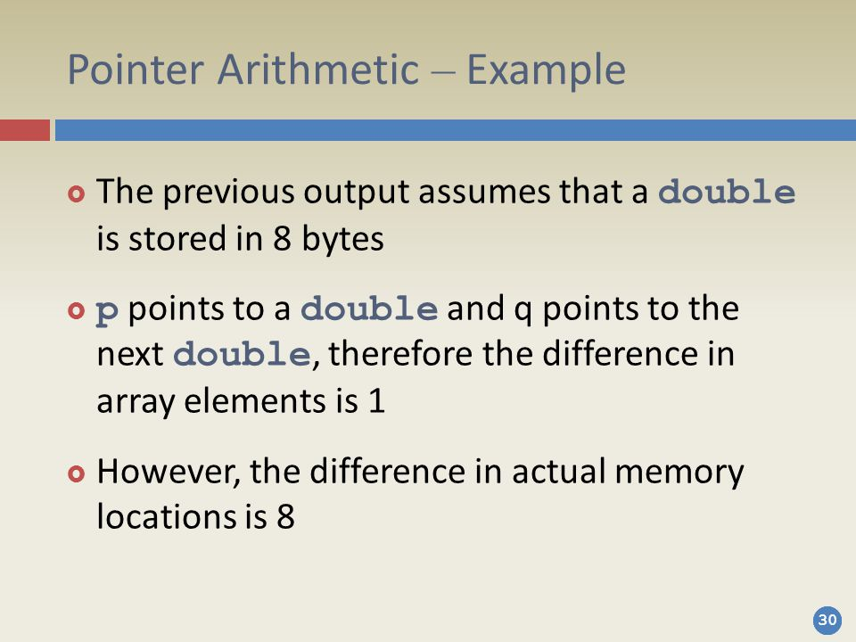 Pointer Arithmetic – Example