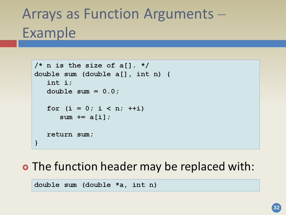 Arrays as Function Arguments – Example