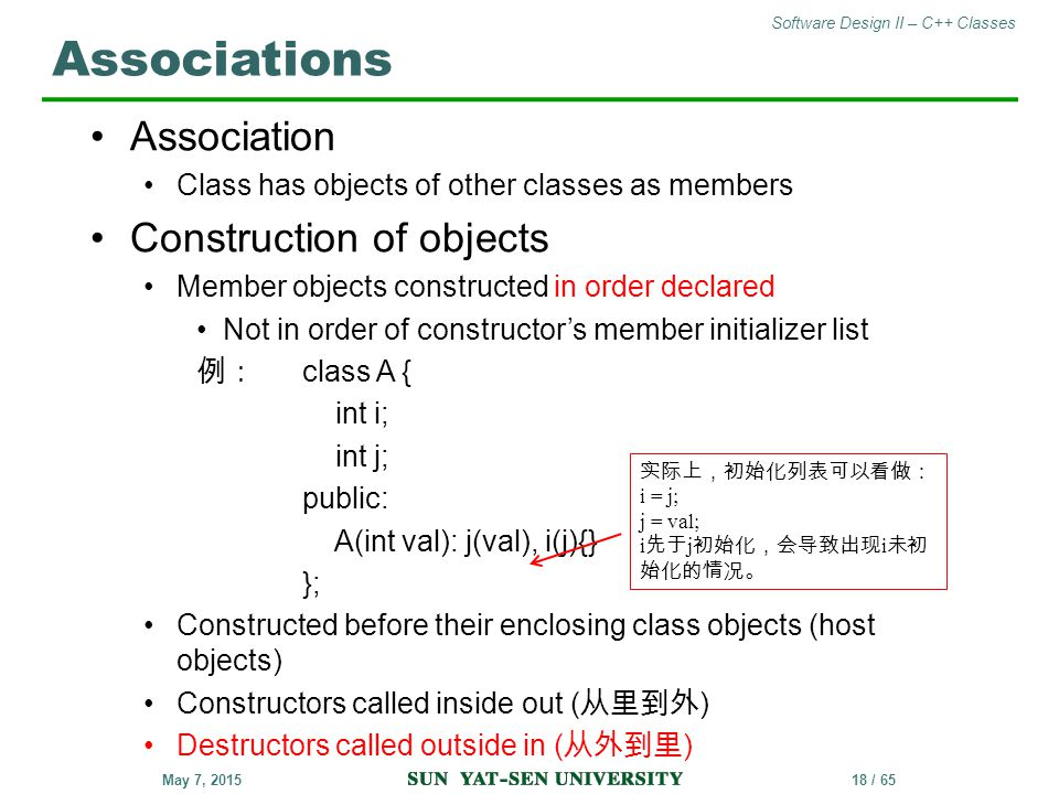 Associations Association Construction of objects