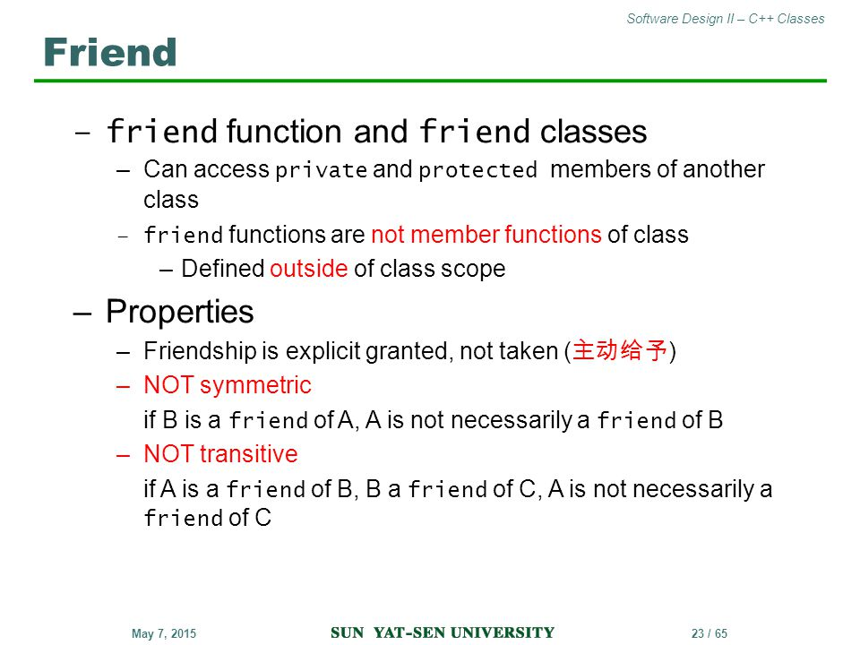 Friend Properties friend function and friend classes