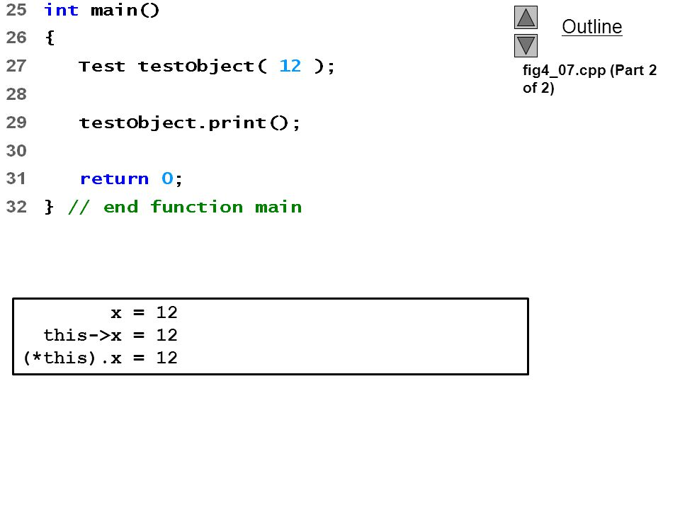 fig4_07.cpp (Part 2 of 2) x = 12 this->x = 12 (*this).x = 12