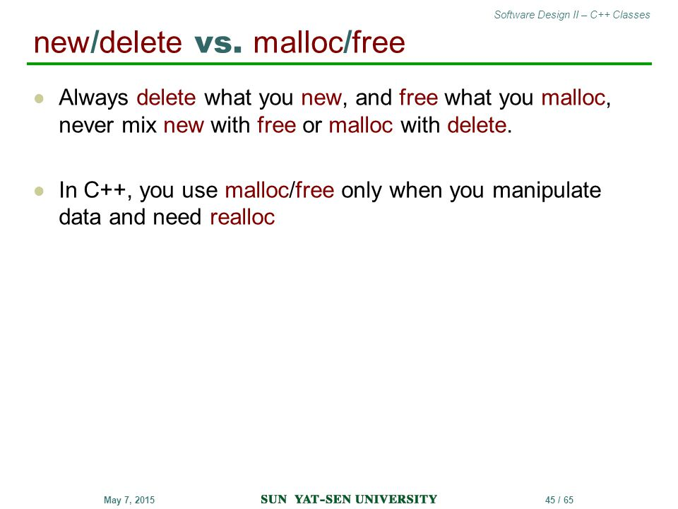 new/delete vs. malloc/free