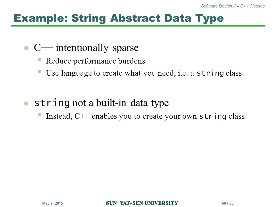 Example: String Abstract Data Type