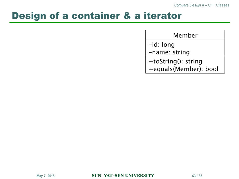 Design of a container & a iterator
