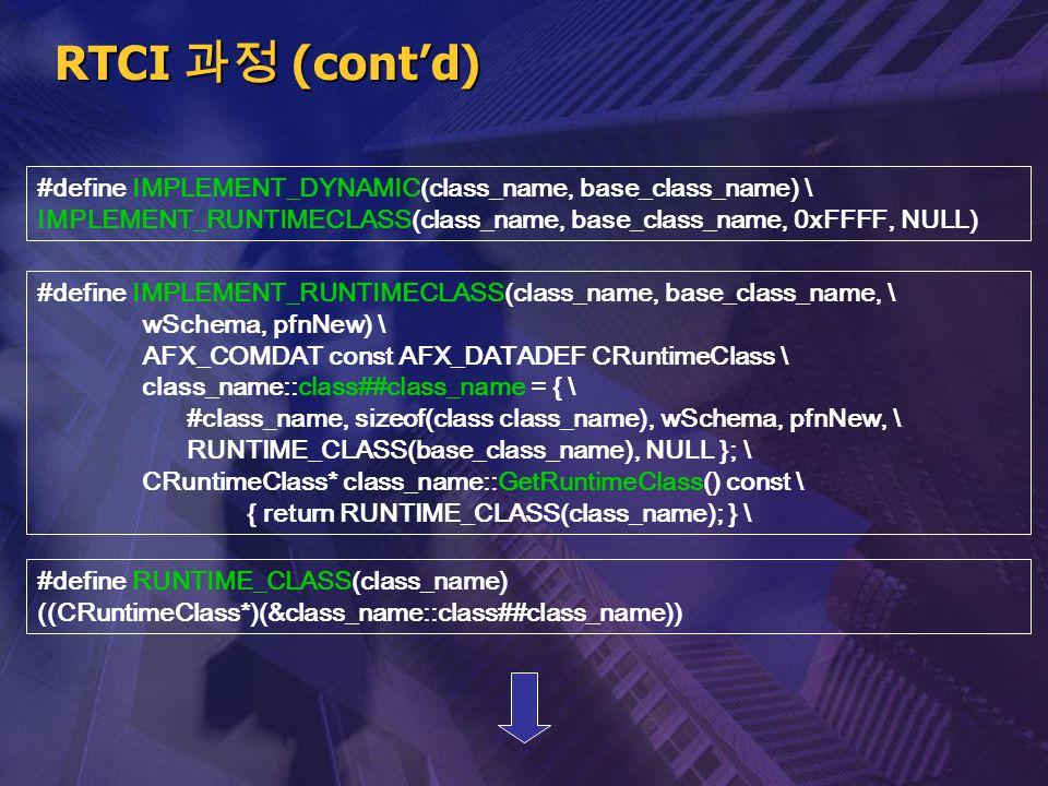 RTCI 과정 (cont'd) #define IMPLEMENT_DYNAMIC(class_name, base_class_name) \ IMPLEMENT_RUNTIMECLASS(class_name, base_class_name, 0xFFFF, NULL)