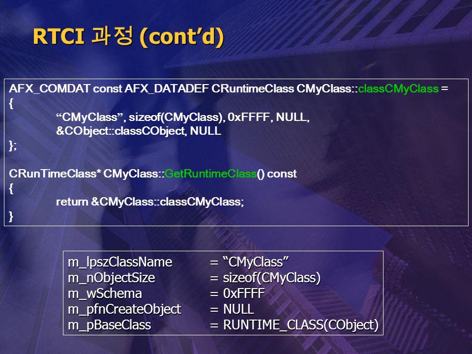 RTCI 과정 (cont'd) m_lpszClassName = CMyClass