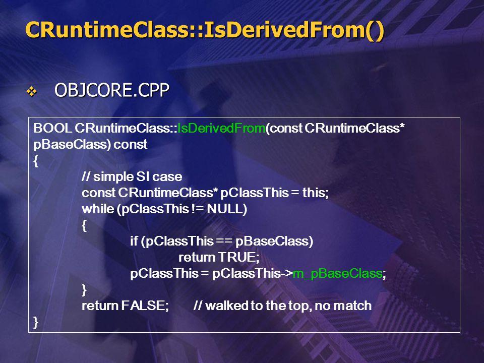 CRuntimeClass::IsDerivedFrom()