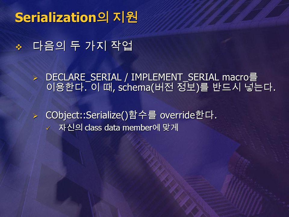 Serialization의 지원 다음의 두 가지 작업