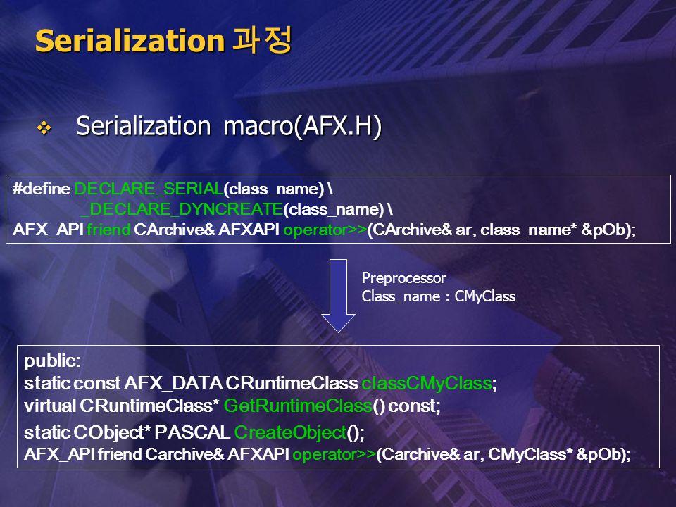 Serialization 과정 Serialization macro(AFX.H) public: