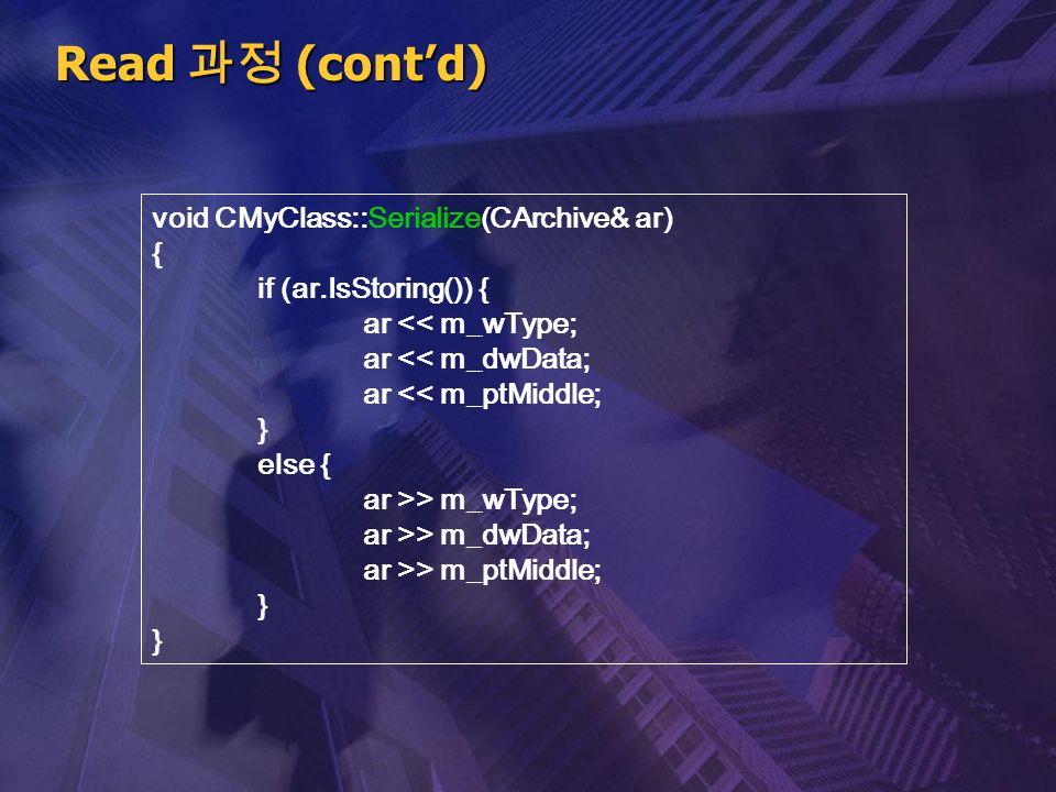 Read 과정 (cont'd) void CMyClass::Serialize(CArchive& ar) {