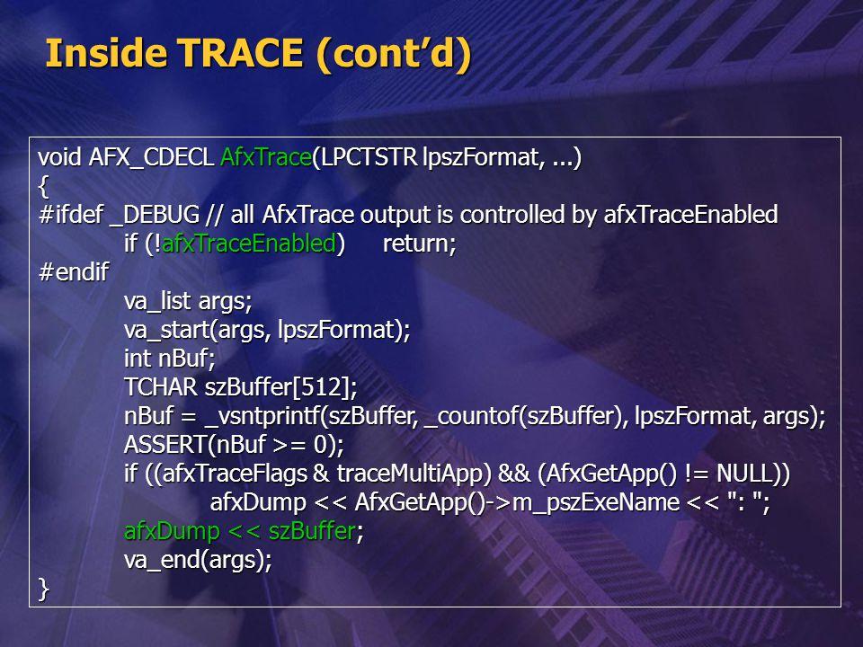 Inside TRACE (cont'd) void AFX_CDECL AfxTrace(LPCTSTR lpszFormat, ...)