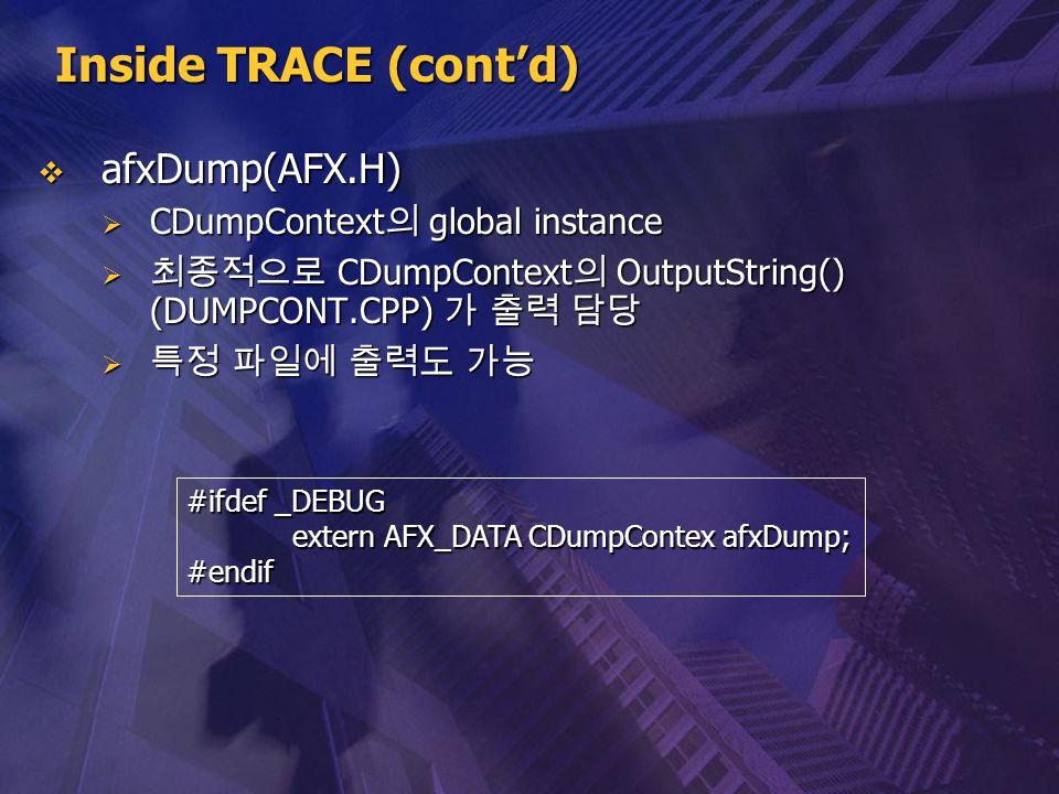 Inside TRACE (cont'd) afxDump(AFX.H) CDumpContext의 global instance